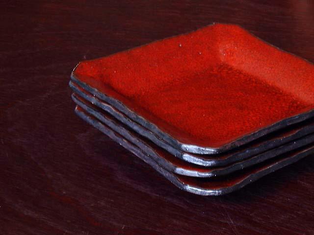 赤絵あけぼの角取り皿