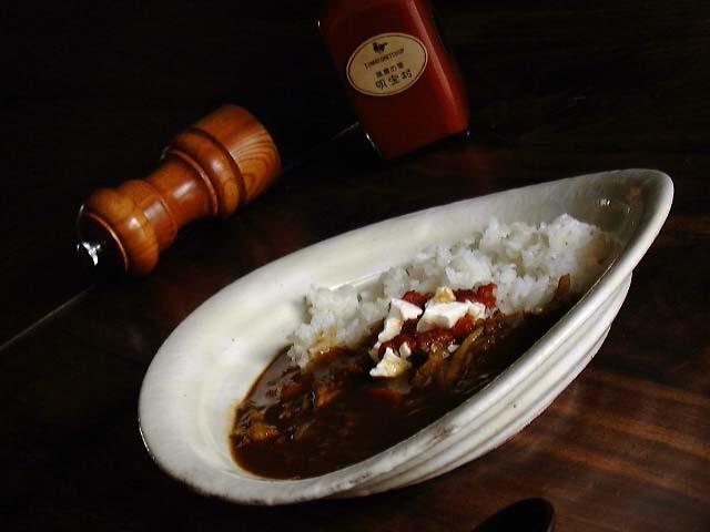 粉引らせん大皿(カレー皿)