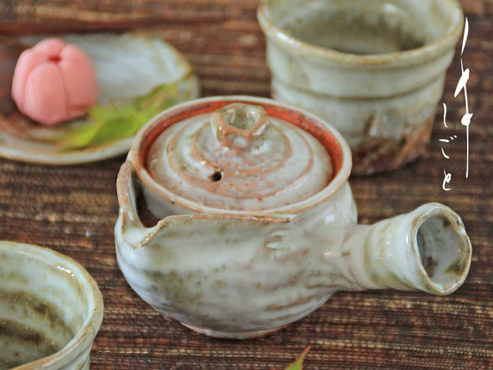 萩焼カラス口急須(小)・煎茶碗(別販売)