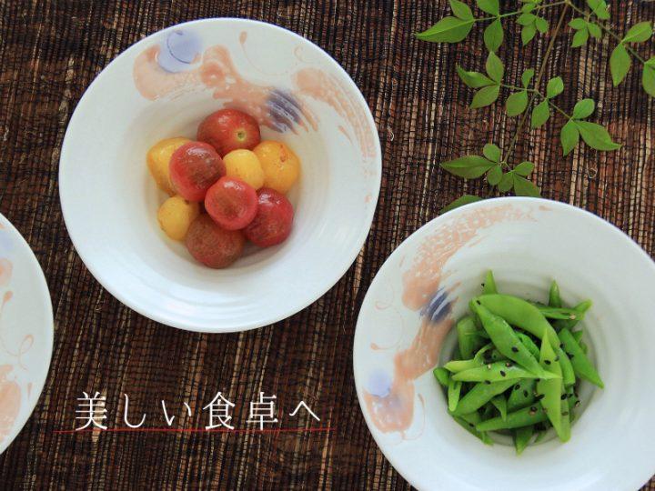 赤絵雲紋リム小鉢(白磁)