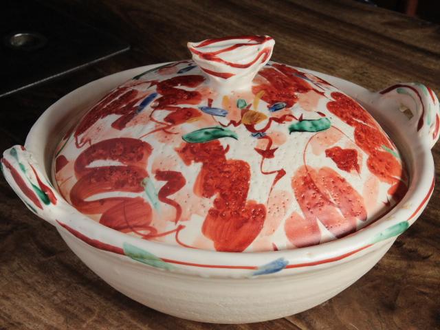 赤絵花舞土鍋