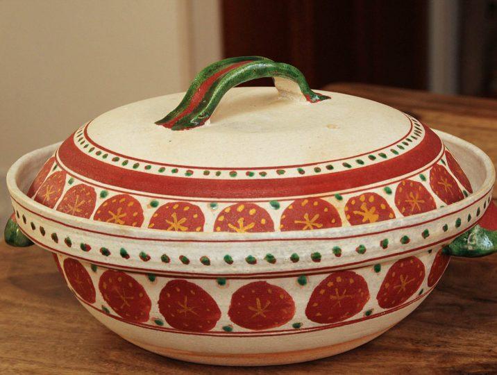 赤絵花模様土鍋