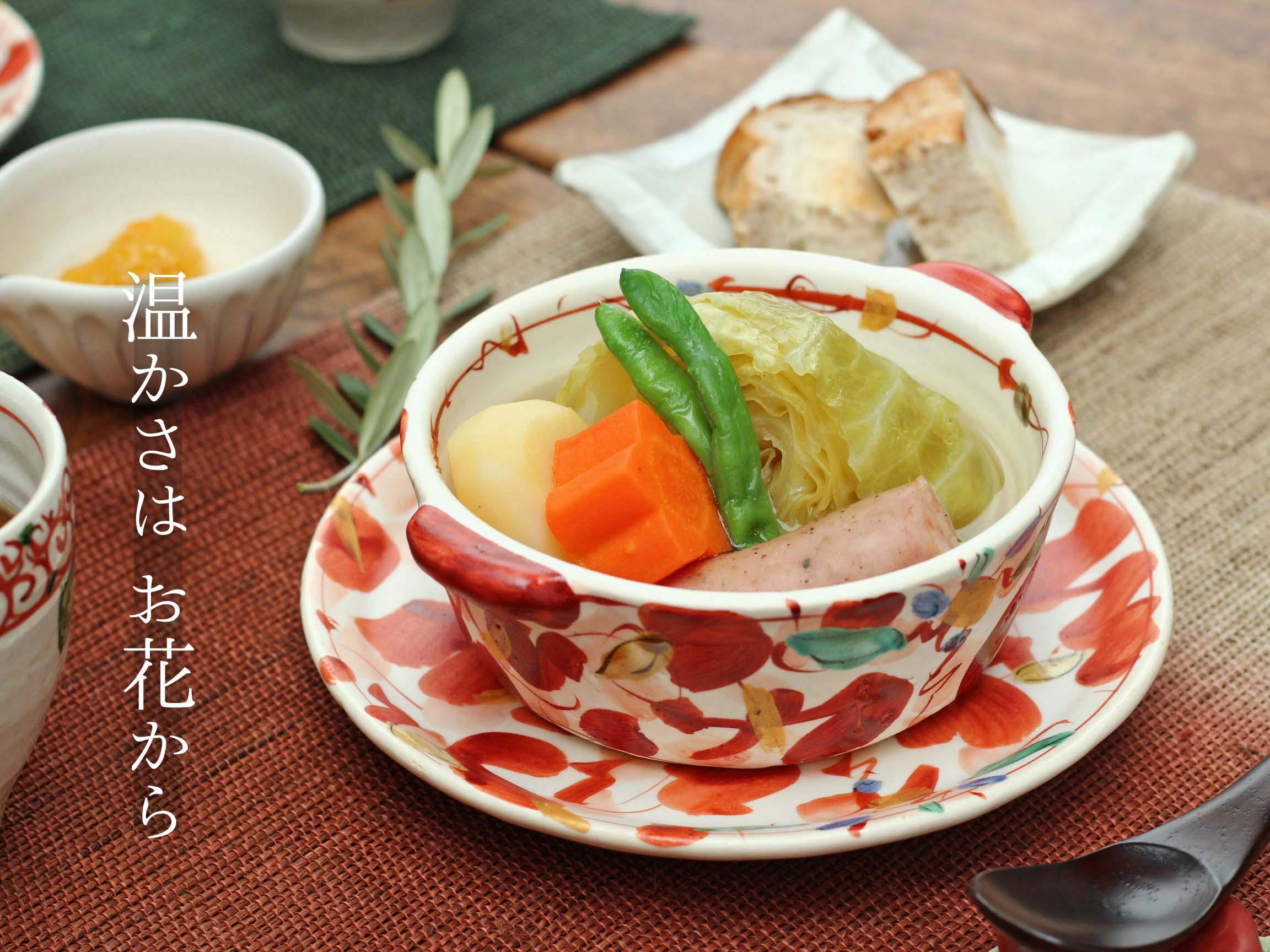 赤絵花舞グラタン皿鉢