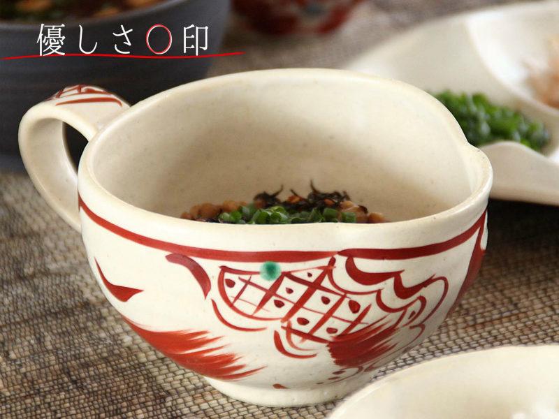 赤絵刷毛絵納豆鉢