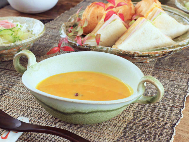 緑釉スープボウル
