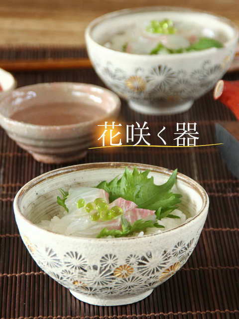 刷毛目金彩印花紋ご飯茶碗